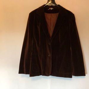 Vintage chocolate brown velvet 2 button blazer.